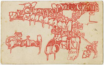 Greetings card designed by Archibald Knox