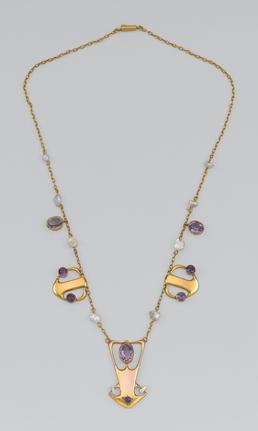 Liberty gold and amethyst necklace designed by Archibald…