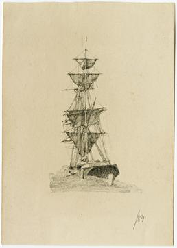 Sailing vessel by Archibald Knox