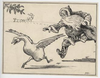 Father Christmas chasing a goose