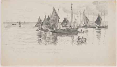 Fishing boats and rowingboats in Douglas Bay