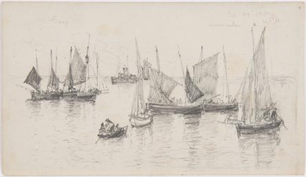 View of fishing boats in bay