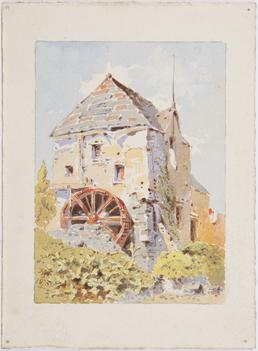 Building with water wheel