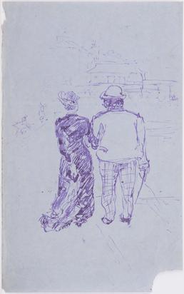 Couple walking on promenade