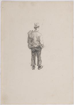 Study of man with coat over left shoulder