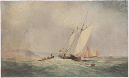Fishing boats on rough sea with life boat