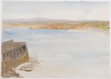 Boats by breakwater