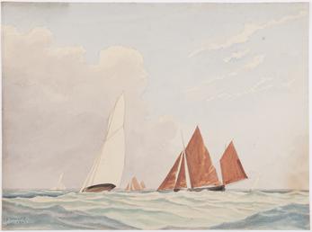 Yachts and fishing boats at sea