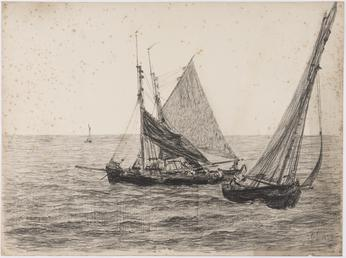 Fishing boats at full sail