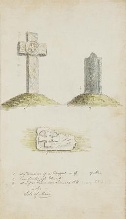 Watercolour drawings of a carved cross and two…