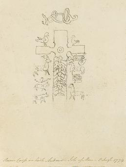 Pencil Drawing of a Carved Cross 'Ruinic Cross…