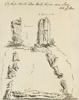 Pencil Drawing of 'Cloghyn Skeilt in Kirk Lonon…