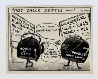 Political cartoon entitled 'Pot Calls Kettle'