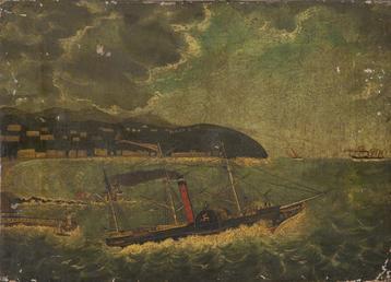 The paddle steamer 'Tynwald I' leaving Douglas harbour