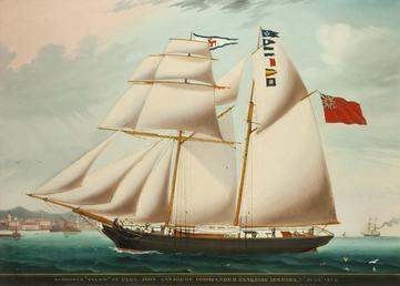 Schooner 'Vixen' entering Leghorn in 1863 under the…