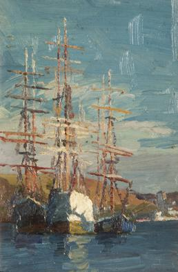 Clipper ships moored