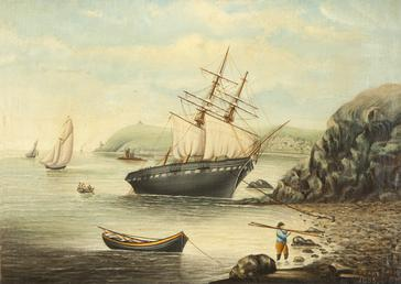 View from Port Jack shore with wrecked sailing…
