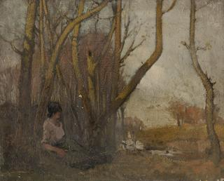 Autumnal landscape with woman and geese