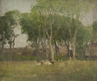 Landscape with woman and geese