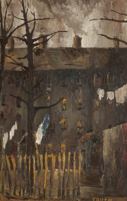 Oil painting of rear of tenement block