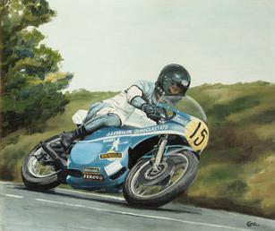 John Crellin on motorbike