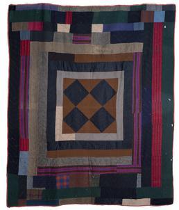 Woollen Manx-style pieced patchwork quilt