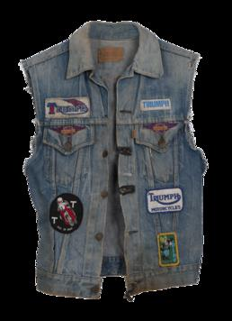 Denim Levi's waistcoat worn by a TT fan