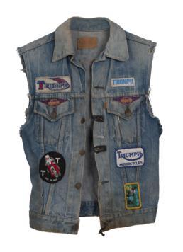 Denim Levi's waistcoat worn by a TT fan