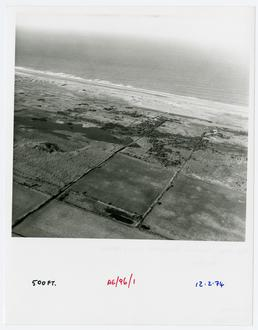 Aerial view of Ballaghennie, showing The Ayres flooded