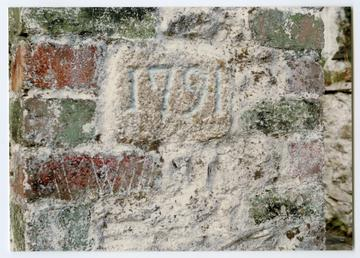 Datestone set in gate pillar of Upper Kerroomoar,…