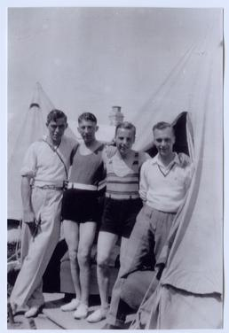 Leslie Williams and friends at Cunningham's Camp, Douglas