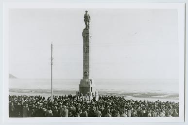 Remembrance service at the war memorial, Harris Promenade,…