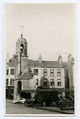 Old St Matthew's church during demolition, Douglas