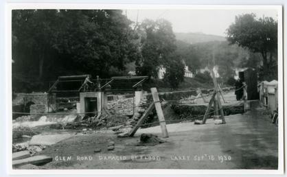 Laxey Glen Road damaged by flood, September 18th…