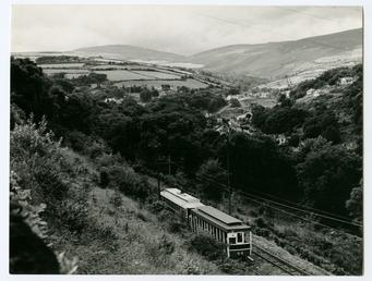 Electric tram, Laxey village, panoramic of village and…