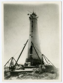 Construction work at Chicken Rock lighthouse