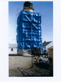 Langness lighthouse, covered in tarpaulin