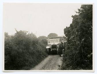 A car stuck in the road at Maughold