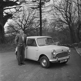 Geoff Duke receiving Mini Minor car