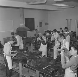 Metalwork classroom at the new Castle Rushen School,…
