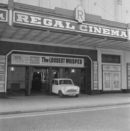 Mini Minor car at the Regal Cinema, Douglas
