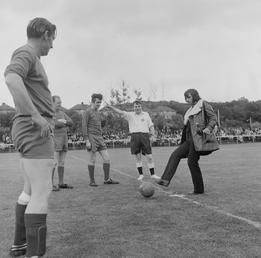 George Best kicking-off charity football match