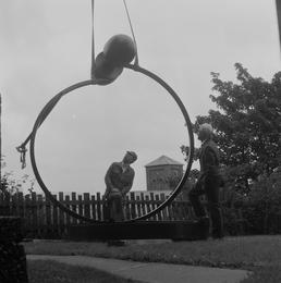 Installation of 'The Watcher' sculpture outside the Manx…