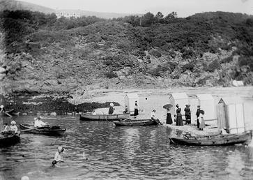 Rowing and bathing at Spaldrick, Port Erin