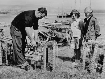 Repairing lobster pots, Port St Mary