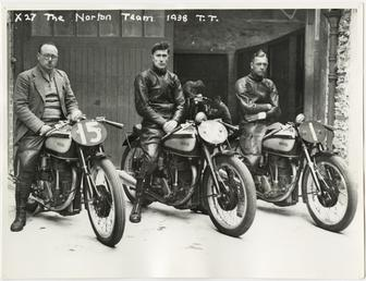 The Norton team at the 1938 TT (Tourist…