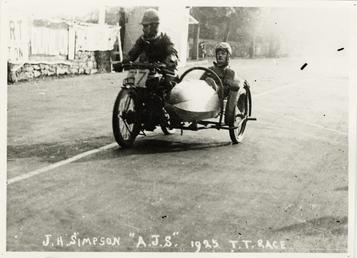 Jimmie H. Simpson aboard A.J.S. sidecar outfit, 1925…