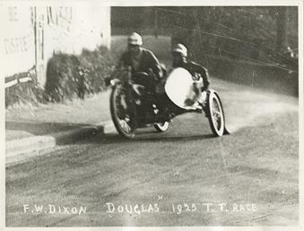 F.W. Dixon aboard Douglas sidecar outift, 1925 Sidecar…