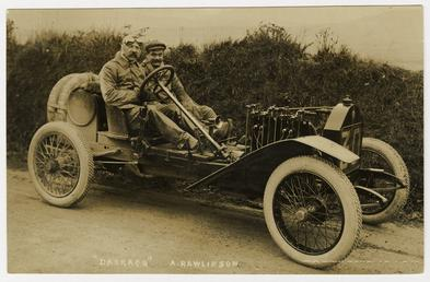 A. Rawlinson in a Darracq,1908 Tourist Trophy motorcar…