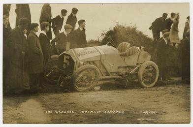 Coventry-Humber smash at the 1908 Tourist Trophy motorcar…